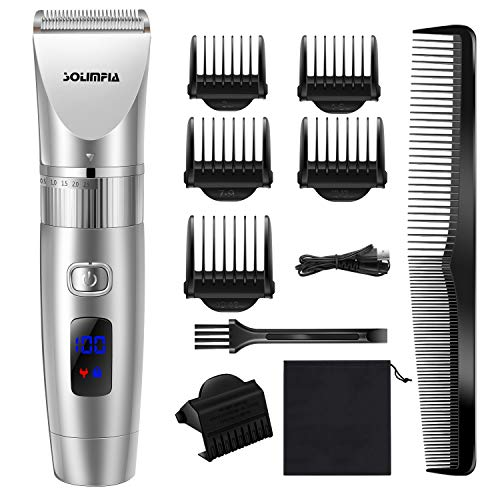 SOLIMPIA Professional Hair Clipper for Men Cordless Hair Clippers Beard Trimmer Rechargeable Waterproof Hair Cutting Kits 12-Piece with Storage Bag-Precision and Elegance Gift Box