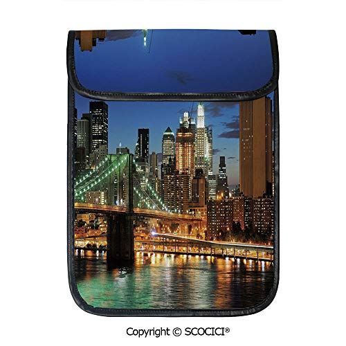 - SCOCICI Tablet Sleeve Bag Case,New York at Night with Brooklyn Bridge Skyscrapers Famous Metropolis Manhattan USA,Pouch Cover Cases for iPad Pro 12.9 in and Any Tablet