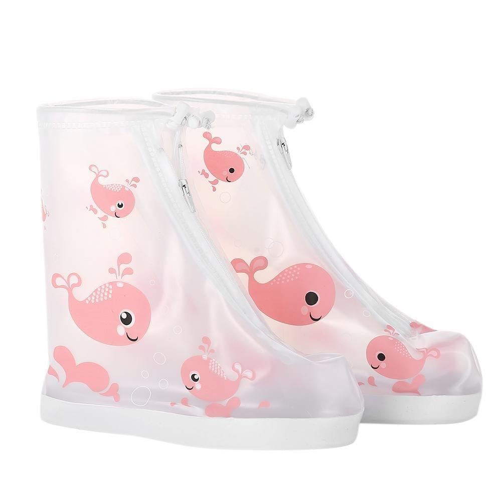 Broadroot enfant zippée Surchaussures enfants réutilisable pluie Neige Couvre-chaussures antidérapant imperméable pluie Bottes de pluie de protection pour jardin Camping activités de plein air L Dolphin Pink