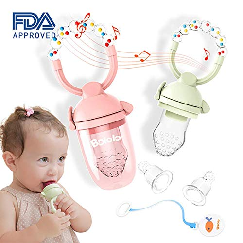 Baby Food Feeder/Fruit Feeder Pacifier (2 Pack), BOLOLO Baby Pacifier Teething Toys with Rotating Rattle Design Include Two Free Replacement Silicone Mesh Pink/Green