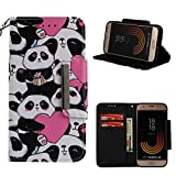 Leather Wallet Case for Samsung Galaxy J320 2017,Shinyzone Cute Cartoon Animal Love Heart Panda Painted Pattern Flip Stand Case,Wristlet & Metal Magnetic Closure Protective Cover