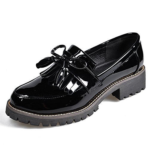 LANSHULAN Womens Juniors Slip On Tassels Enamel Leather Oxfords Shoes Flats Plus Size 34-42