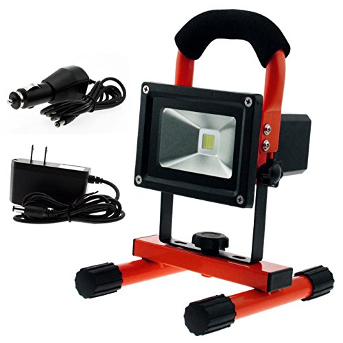 Techno Earth R10R_VE02 Ultra Bright 10W Portable Work Lights,Waterproof Work Lamp/Flood Lights/Security Lights, Rechargeable Outdoor Indoor Lights Built-in 3200mAh Li-ion Batteries, Red