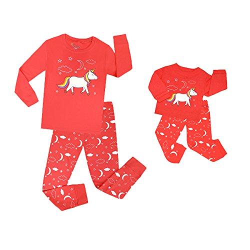 TinaLuLing Matching Doll & Girl 2 Piece Pajama Set Top & Pants 100% Cotton Girls Unicorn Pajamas (PC08-5T)