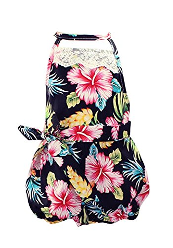 Baby Girls Hawaiian Floral Print Lace Cut Out Back Sunsuit Outfit Bloomers Bloomers Jumpsuit Bodysuit Romper with Headband, Black Floral, 9-12 Months