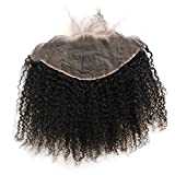 ZigZag Hair 13x6 Lace Frontal Closure Afro Kinky Curly Brazilian Human Hair Pre Plucked Natural Hairline Ear to Ear 3B 3C Full Lace Closure with Baby Hair Natural Color (16inch, 3B 3C,Free Part)
