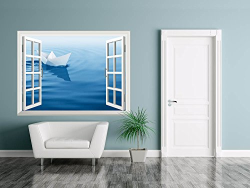 Removable Wall Sticker Wall Mural Paper Boat Sailing on Blue Water Surface Creative Window View Wall Decor
