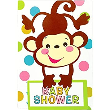 Adorable Fisher Price Baby Shower Party Playful Monkey Folded Invitation,  Paper, 3u0026quot; X