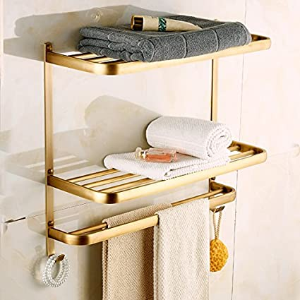 Amazon.com: Rozin Dual Tiers Bathroom Towel Holder Shelf Wall ...