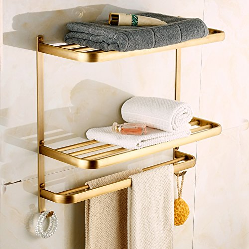 Rozin Dual Tiers Bathroom Towel Holder Shelf Wall Mounted Towel Rack Antique Brass Finish by Rozin