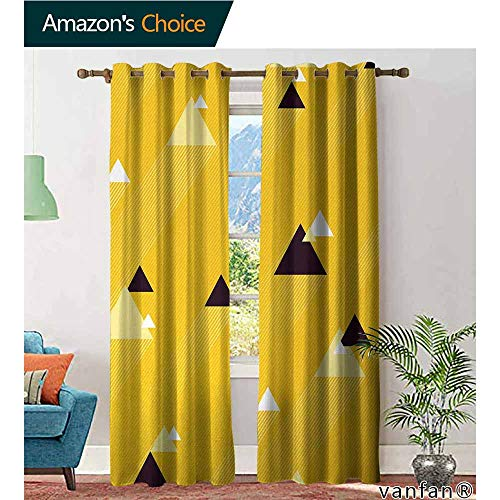 - LQQBSTORAGE Vintage Yellow,Curtains Valance,Big and Small Diagonal Triangles with Stripes Geometric Retro,Curtains for Boys Room,Marigold Black and White