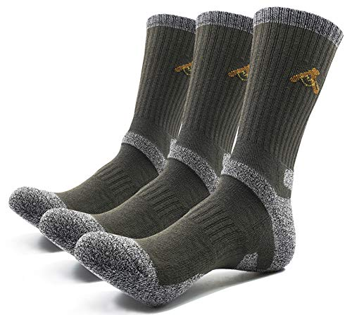 PEACE OF FOOT Hiking Socks boot socks For Mens 6(5+1) Pairs Multi Outdoor Sports Trekking Climbing Camping working Crew Socks (D-green 3, Mens shoe size 10.5~13) from PEACE OF FOOT