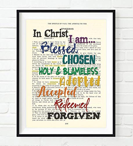 In Christ I Am Blessed Chosen Holy Blameless, Ephesians 1, Christian Art Print, Unframed, Vintage Bible Verse Scripture Wall Decor Poster, Inspirational Gift, 8x10 - Verses Christian Inspirational
