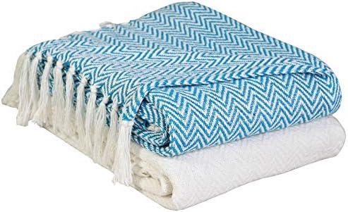 EHC - Juego de 2 mantas de algodón para sofá o silla, tejido de espiguilla, 125 x 150 cm (2 unidades), color marfil/negro: Amazon.es: Hogar
