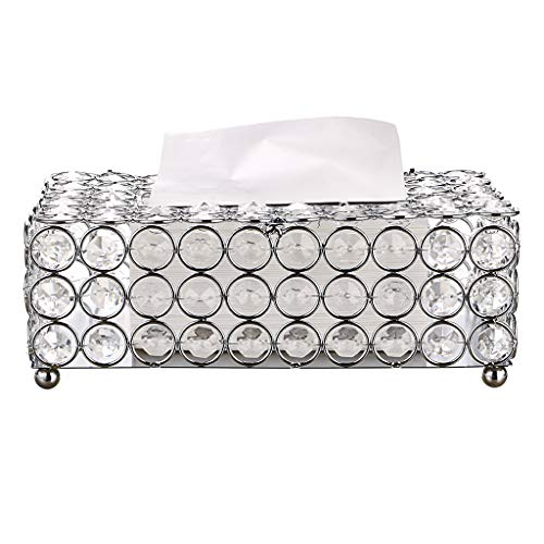 Sumnacon Rectangular Crystal Tissue Box Cover, Decorative Toliet Paper Box, Crystal Napkin Holder, Facial Tissue Holder for Bathroom/Dresser/Night Stand/Desk/Table, Silver