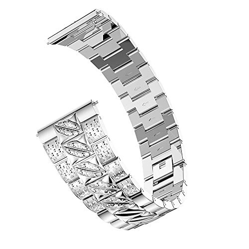 for Samsung Galaxy wtach Bands,Replacement Luxury Metal Crystal Watchbands Adjustable Bracelet Wristband Strap Wrist Band for Samsung Galaxy Watch (46mm) Mens Womens (Sliver) by jinjiums Watch Band (Image #5)
