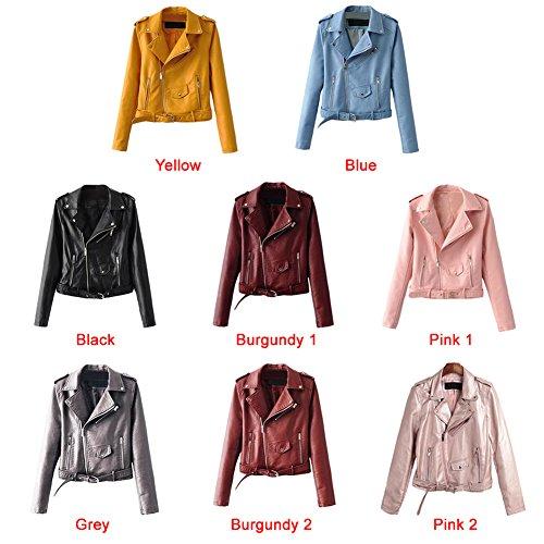 Jacket Long PU Zipper Moto Burgundy2 Sleeves Basic Coat Leather Jacket Belt Romacci Women's Outerwear qtn0S