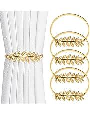 Laelr Curtain Tie Backs, 4 Pack Aluminum Alloy Spring Design Window Curtain Ties Backs, Gold Leaf Shape Decorative Curtain Holdbacks for Home, Office, Hotel Window Blackout Sheer Drapery