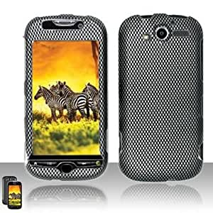 Rubberized Black Grey Carbon Fiber Check Snap on Design Case Hard Case Skin Cover Faceplate for Htc Mytouch 2010 4g