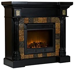 SEI Carrington Convertible Electric Fireplace, Slate/ Black
