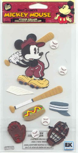 Jolee's Boutique Disney Vintage Mickey Mouse Baseball Stickers Embellishment, Sticker Collage, Scrapbooking ()