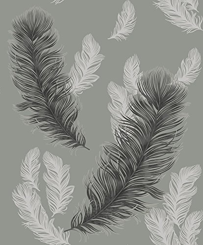 Arthouse, Sirius Gunmetal Gray Feather Wallpaper, Modern Décor