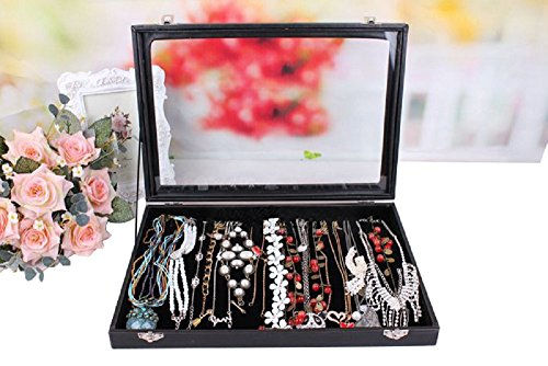 Wuligirl 20 Hooks Necklace Storage Box Jewelry Boxes Disp...