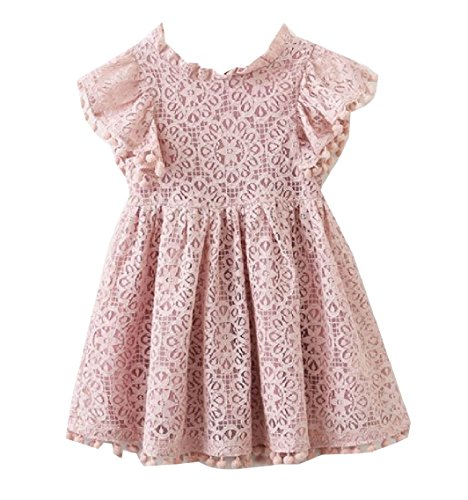 Highisa Kids Fashion Ruffle Sleeve Lace Hollow Out Party Wedding Dresses Pink 130
