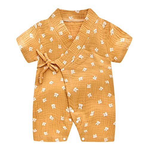 PAUBOLI Baby Kimono Robe Newborn Cotton Yarn Bodysuit Romper Infant Japanese Pajamas 0-24 Months (12-24 Months, Cat)]()