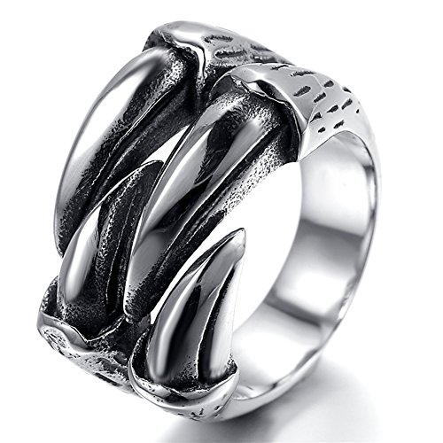 JAJAFOOK Mens Stainless Steel Ring, Gothic Wolf Dragon Claw, Silver