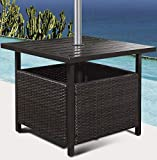 Custpromo Outdoor Bistro Table Rattan Wicker Steel Side Deck Dining Table with Umbrella Hole