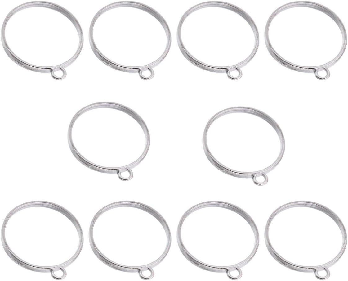 Healifty - 10 colgantes con bisel trasero abierto, con marco redondo, marco posterior abierto con anillo para creación de joyas (plata)