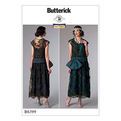 Belle Epoque Costumes (Butterick B6399 Misses' Drop-Waist Dress with Oversized Bow by Making History, E5 (14-16-18-20-22))