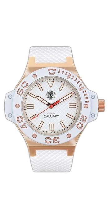 Relojes Calgary Portofino Gold. Reloj clásico para Mujer. Esfera Blanca y Dorada y Correa Color Blanca: Amazon.es: Zapatos y complementos