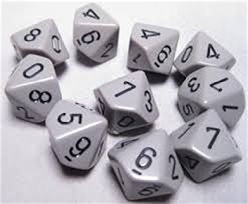 Chessex Manufacturing 26210 Opaque Grey With Black - Ten Sided Die D10 Set Of 10 B00OU6QR9I