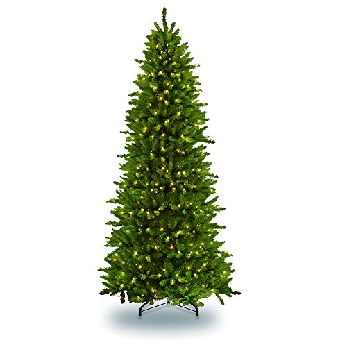 Puleo International 9-Foot Pre-Lit Fraser Fir Artificial Tree with 800 UL-Listed Clear Lights Christmas, Green