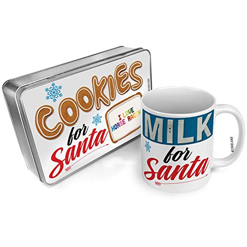 NEONBLOND Cookies and Milk for Santa Set I Love Horse Racing,Colorful Christmas Mug Plate Box -