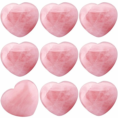 (SUNYIK Natural Rose Quartz Pocket Puff Heart Worry Healing Palm Stone Pack of 10(0.8