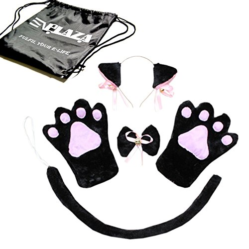 E'Plaza 5PCS Sexy Cute Cat Maid Cosplay Neko Anime Costume for Party Halloween (2 Plush Paw Gloves + 1 Ear Hair Clip + 1 Bow Tie + 1 Tail) (Halloween Neko Costume)