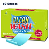 Tonelife 50 Count Laundry Sheets Detergent for Travel -Traveling Laundry Detergent Sheets Scented Perfect for Home,College Dorm,Student,Business Trip,Airline Travel and Camping