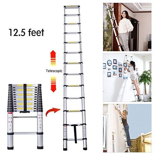 DOWL 12.5FT Folding Climb Aluminum Telescopic Step Ladder Multi Purpose (Tool Set Telescopic Garden)