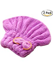 CoWalkers Toallas de secado al cabello de microfibra, velcro de secado rápido de terciopelo de coral Turbante envolvente, gorra de ducha absorbente con efecto turbante de turbante para mujeres y niños (2 Pcs)