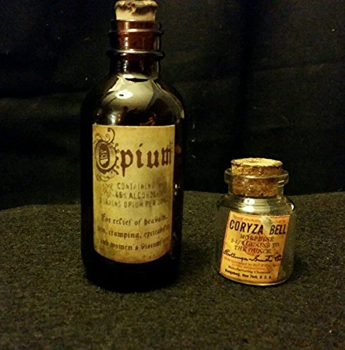 Vintage Style Opium & Morphine Glass Bottles Handcrafted by Artist .Nice