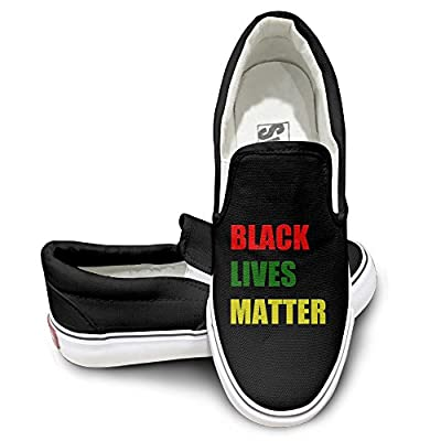 PTCY Black Lives Matter Skate Unisex Flat Canvas Shoes Sneaker Black
