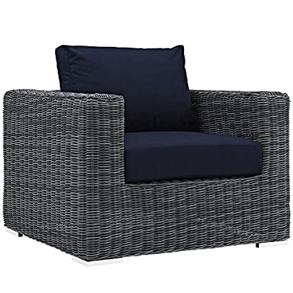 Fantastic Modway Eei 1864 Gry Nav Summon Wicker Rattan Outdoor Patio Armchair With Sunbrella Fabric Cushions Canvas Navy Pdpeps Interior Chair Design Pdpepsorg