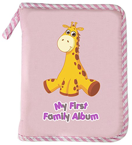 Baby Photo Album - My First Family Album - 4X6 - by LittleDrooly - small - soft - Infant Development Toy - Includes baby safe mirror and a loop to hang on a stroller, crib, car seat or play pen. Surface washable - PINK