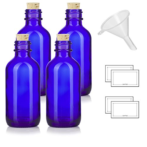 2 oz Cobalt Blue Glass Boston Round Bottle with Cork Stopper Closure (4 Pack) + Funnel and ()