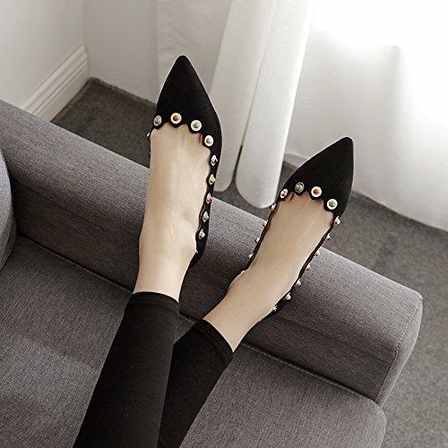 Xue Qiqi Einzelne Einzelne Einzelne Schuhe Weiblichen Flache Spitze Flache Schuhe mit Licht-Perlen Frauen Schuhe Schwarz Perle 5133b2