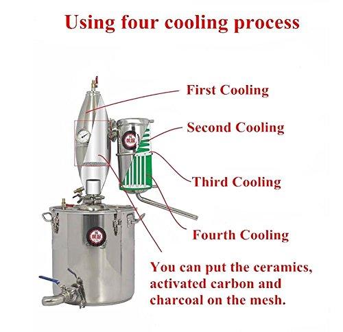 25L 6.6Gal 304 Stainless Steel Alcohol Distiller Home Brew Kit Monnshine Wine Making Boiler by Niangge (Image #2)