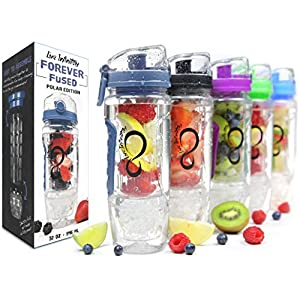 Live Infinitely 32 oz. Infuser Water Bottles - Featuring First Ever Gel Freezer Ball Infusion Rod, Flip Top Lid, Larger Dual Hand Grips & Recipe Ebook Gift (Navy Polar Edition, 32 Ounce)